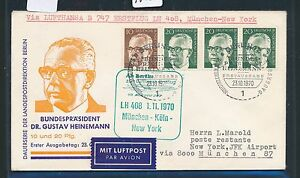 96080) Lh Ff Munich-cologne-new York 1.11.70, Heinemann Fdc Mangez Berlin R!-afficher Le Titre D'origine