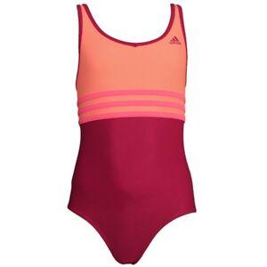 9366b62d1d323 Das Bild wird geladen Adidas-Youth-One-Piece-3-Stripes-Badeanzug-orange-