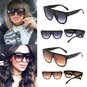 e9a23825600 Image is loading Oversized-Shadow-Sunglasses-Flat-Top-Shield-Women-039-