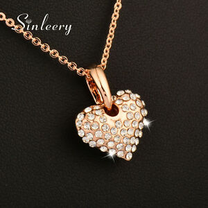Brand-Women-Romantic-Crystal-Heart-Pendant-Necklace-18K-Rose-Gold-Chain-2017-New
