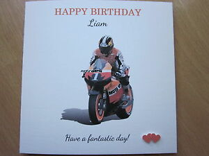Handmade Th Birthday Cards Son ~ Personalised handmade male motorbike birthday card son brother