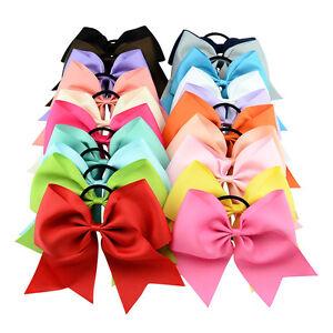 "Baby Girls 8"" Cheerleading Ribbon Grosgrain Bow Tie Elastic Band"