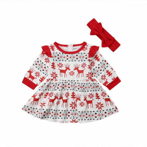 UK Christmas Toddler Kids Baby Girls Deer Lace Plaid Party Pageant Dress Clothes