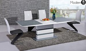 Image Is Loading Modern Grey And White High Gloss Extending Dining