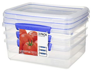 Sistema-KLIP-IT-Food-Storage-Containers-Blue-Clips-2-Litre-Pack-of-3