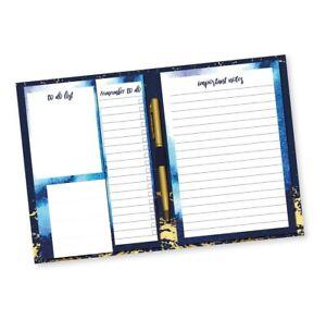 Azul-Y-Oro-Aluminio-Escritorio-Agenda-Bloc-de-Notas-Cuaderno-Adhesivas-Lista-Pen