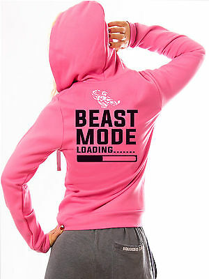 SHREDZ WOMEN'S BODYBUILDING CLOTHING HOODY GYM BEAST MODE LOADING TRAINING WEAR