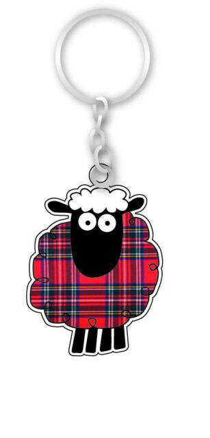 Scottish Blue Kilt Highland Piper Scotland Bag Purse Double Dome Keyring Charm