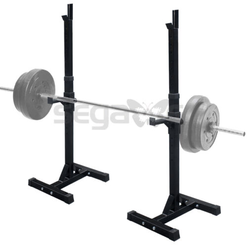 Set of 2 Steel Heavy Duty Adjustable Height Squat Rack Stand Strength Exercise