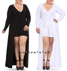 a96aa3cac12 Plus Size Romper Maxi Dress Mini Shorts Jumpsuit Open Front Long ...