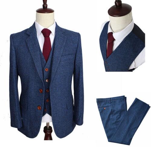 Men/'s Classic Tweed Wool Blend Suit 3 Piece Check Plaid Blue Herringbone Blazer