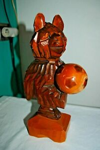 Ours En Bois Sculpte-black Forest-ht 29 Cm-wood Bear-tragen- Football-ballon Uyjj3ouu-07224833-340295413