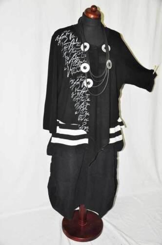 Veste Noir Superposition Imprimé 44 Blanc Court long Inscription Cool Tricotée qFXBXOx