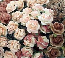 100 Mini 1cm Paper Flowers Wedding Rose House Gift Basket Craft Supply R2-827