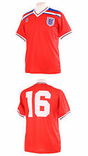 ENGLAND 1982 WORLD CUP NUMBER 16 ROBSON RETRO RED AWAY FOOTBALL SHIRT M MEDIUM