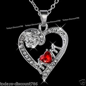 BLACK-FRIDAY-DEAL-Mother-MUM-Necklace-Red-Heart-Crystal-Xmas-Gifts-For-Her-Mom