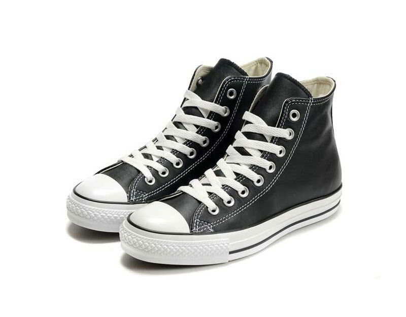 Converse Black Leather Chuck Taylor Sneakers Trainer ALL STAR HI 1Q547