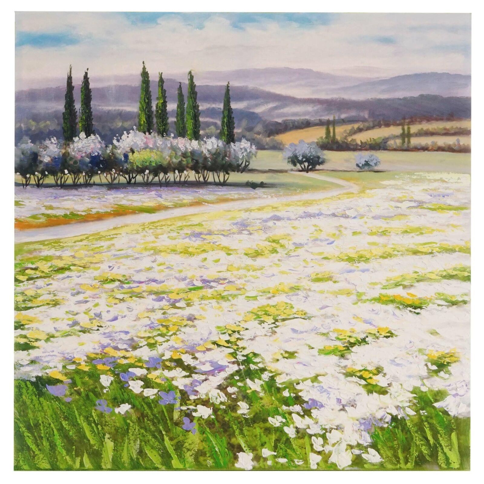 Peinture huile fleurs paysage, 100% à la main la fresque peintures xl, 80x80cm