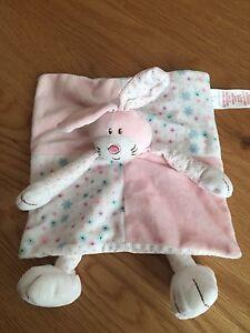EARLY-DAYS-Primark-Pink-Bunny-Rabbit-Comforter-Comfort-Snuggle-Blanket-Soft-Toy
