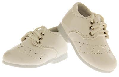 Baby Boy Neonato Bambino Bianco Lacci Scarpe Formale Festa Battesimo Sz 0 1 2 3-