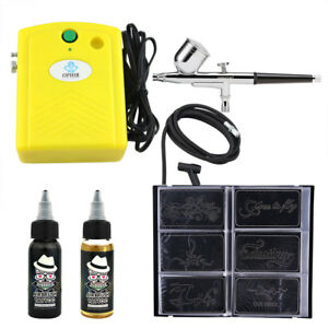 OPHIR Airbrush Temporary Tattoo Compressor Kit+30ML Paint Ink&Body ...