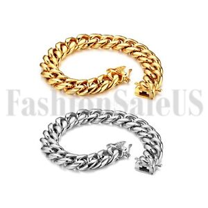 Men-039-s-Polished-Gold-Silver-Tone-Heavy-Stainless-Steel-Curb-Chain-Bracelet-Bangle