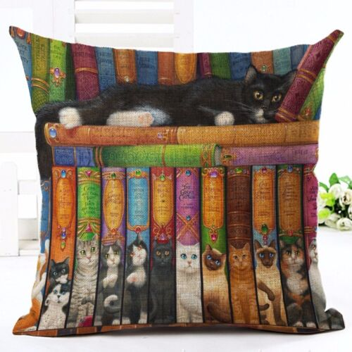 European Style Cute Book Cat Party Cushion linen Throw Pillowcase Home Decor 18/'