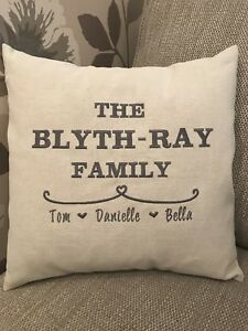 Burlap pillow, wedding gifts made by my mother-in-law! Such a