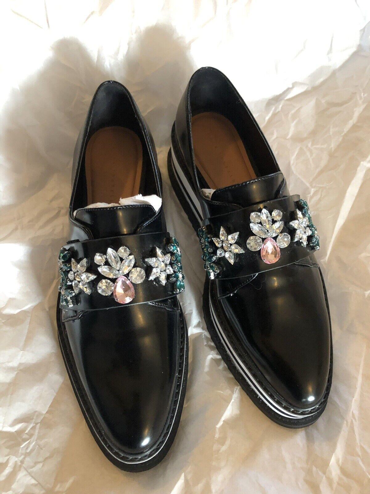 Zara Trafaluc Black Sparkly Bead Black White & Wedge Brogue Loafer Shoes,6/39