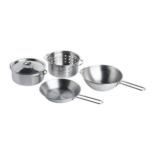 Ikea Duktig 5 Piece Kids Mini Stainless Steel Toy Kitchen Cookware