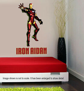 Image is loading Personalized-Iron-Man-Wall-Decal-Removable-and-Replaceable & Personalized Iron Man Wall Decal (Removable and Replaceable) | eBay