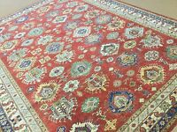 9'.8 X 12'.7 Red Beige Geometric Persian Oriental Area Rug Hand Knotted Wool