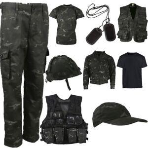 Garçons Armée Costume Kids 3-13 ans pantalon t-shirt à capuche veste costume BTP Camouflage
