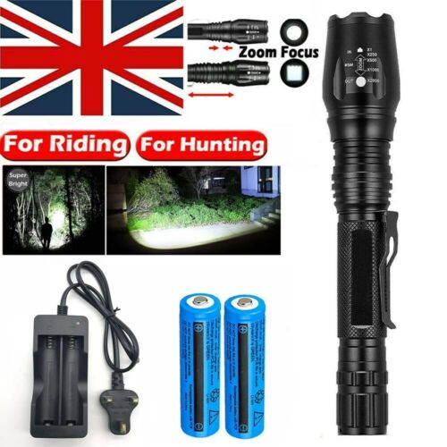 1-2x 900000LM Tactical Rechargeable T6 LED Flashlight Zoom Hiking Torch Light UK
