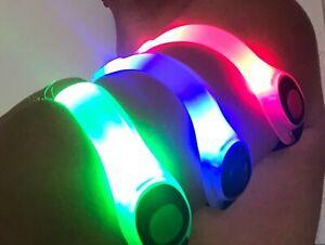 Reflective-Belt-LED-Light-Armband-Night-Cycling-Running-bike-red-blue-green