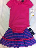 Chaps Ruffled Bodysuit And Skirt Set 24 Months Pink Blue $34