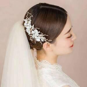 91a9950f24e Image is loading Bridal-Handmade-Flower-Crystal-Beads-Pearl-Wedding-Hair-