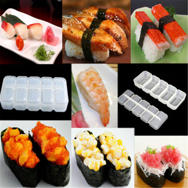 5 Rolls Sushi Rice Maker Mould Roller Bento Mold DIY Kitchen Gadgets Tool #3YE
