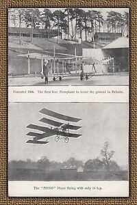 """100 Yr Old Antique Unused Postcard from England, Advertising the """"AVRO"""" Plane"""