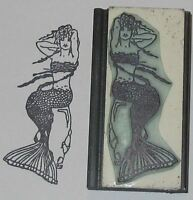 Mermaid Seated On Rocks Rubber Stamp By Amazing Arts