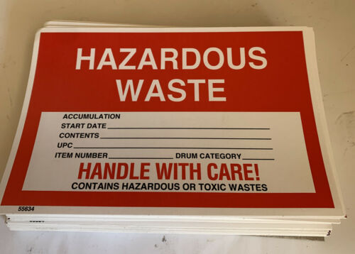 """Qty 200 Hazard Sign Adhesive Labels /""""Hazardous Waste Handle With Care/"""" 4X6 HD"""