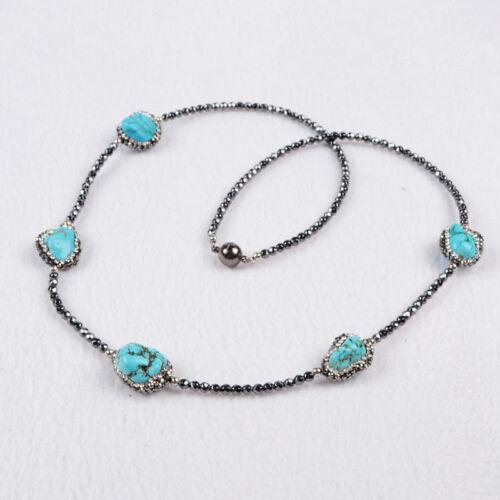 "24/"" CZ Paved Howlite Turquoise Black Stone Beads Necklace Jewelry DIY HOT HJA201"