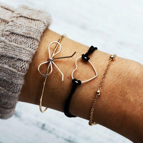 Fashion Women Boho Gold Silver Chain Bracelet Rhinestone Bangle Cuff Jewelry Set