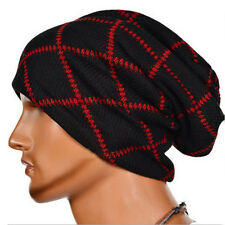 Red Black Metal Style Inverted Cross Cuff Beanie Knit Cap Occult Evil Clothing