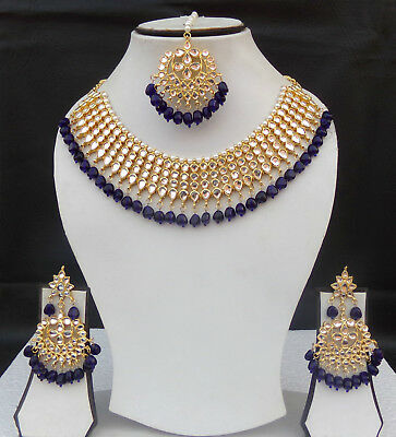 South Indian Jewelry Gold Plated Bridal Set Kundan Pearl Necklace