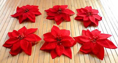 Weihnachtsstern Busch   rot mit 7 Blüten  43 cm  künstliche Poinsettien  Neu