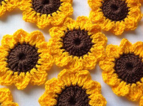 Apliques De Flores De Verano Crochet 8xNew encantador adorno-Girasoles