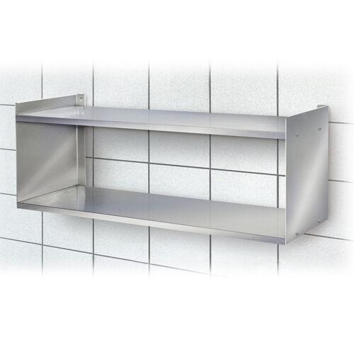 Edelstahl-Wandregal BxTxH 1000 x 250 x 360 mm 2 Böden silber