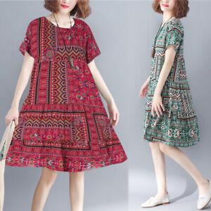 ZANZEA-Women-Short-Sleeve-Printed-Bohemian-Sundress-Flare-Plus-Size-Floral-Dress