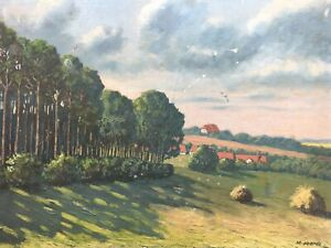 Olbild-Weite-Sommerlandschaft-Ernte-M-Voerde-beschaedigt-32-5-x-43